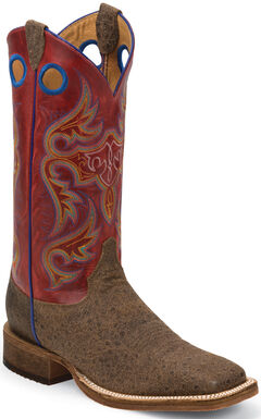 Justin Bent Rail Brown Distressed Ostrich Print Cowboy Boots - Square Toe , Brown, hi-res