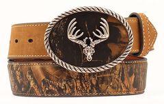 Nocona Camo Leather Belt, Mossy Oak, hi-res