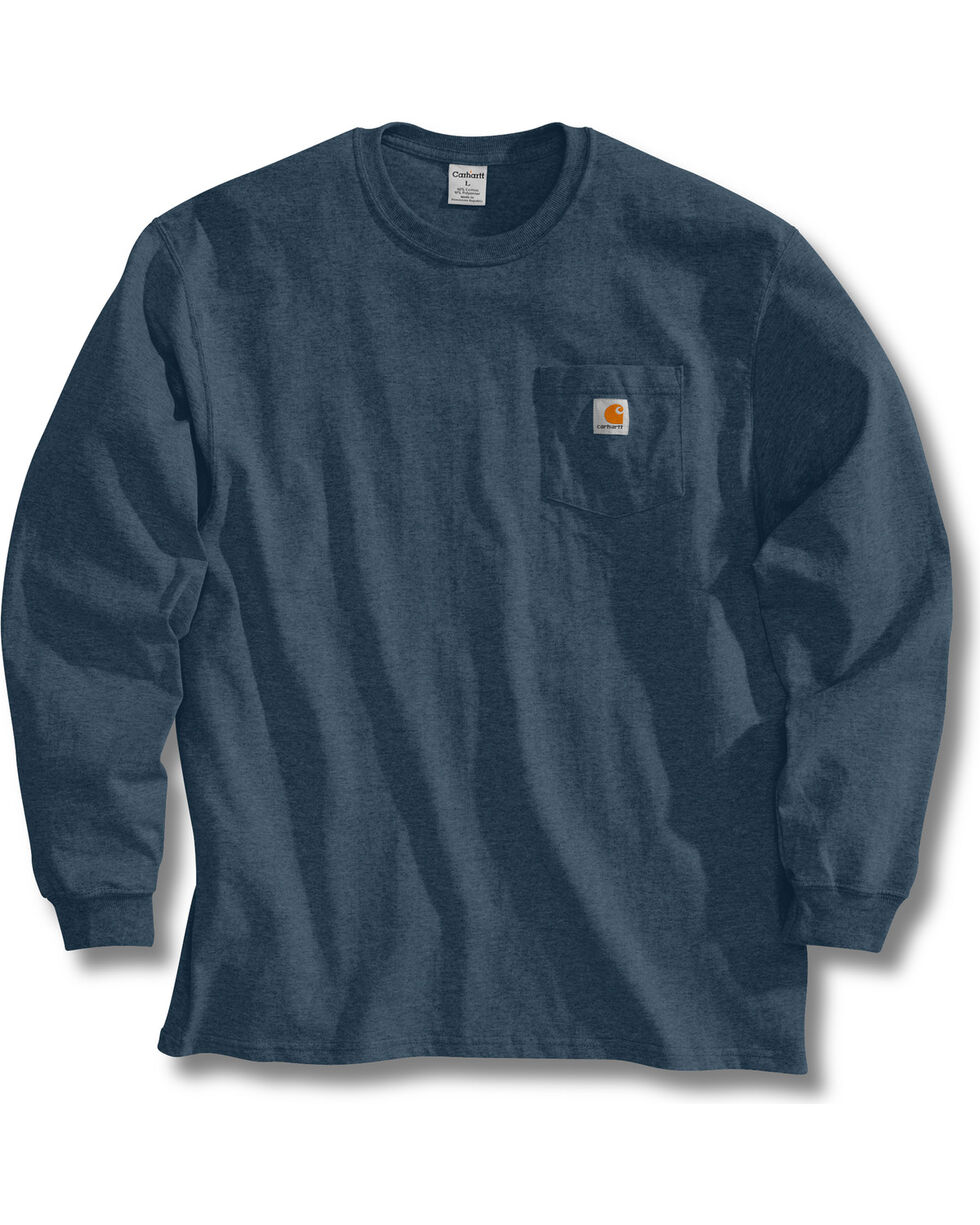 Carhartt Pocket Long Sleeve Work T-Shirt, Blue Stone, hi-res
