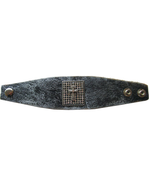Cowgirl Confetti by AndWest Cross & Crystal Leather Cuff, Brown, hi-res