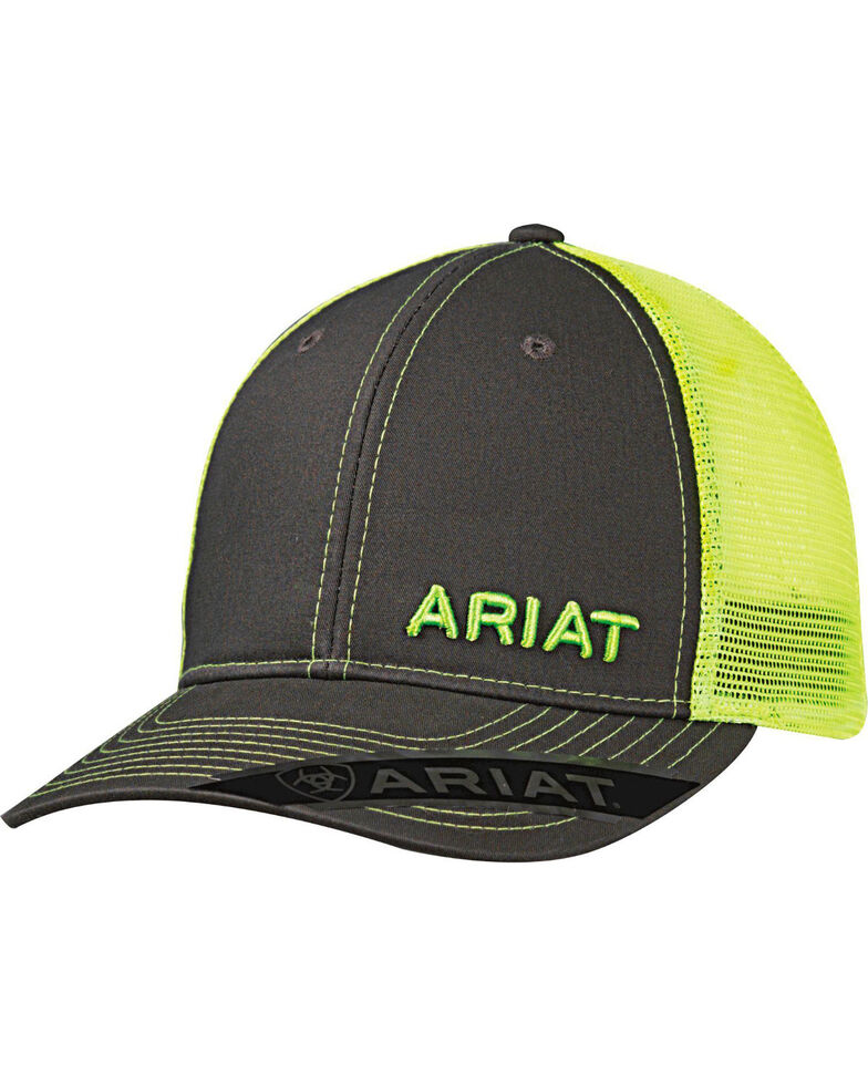 Ariat Men's Grey with Pink Offset Baseball Cap , Bright Green, hi-res