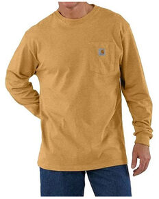 Carhartt Men's Solid Yellow Long Sleeve Work Pocket T-Shirt , Yellow, hi-res