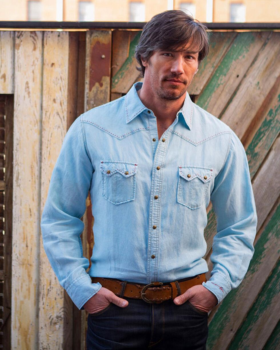 Ryan Michael Men's Sky Saw Tooth Pick Stitch Shirt , Light/pastel Blue, hi-res