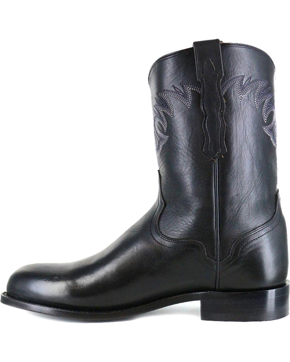 El Dorado Men's Handmade Black Embroidered Western Boots - Round Toe , Black, hi-res