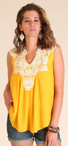 Wrangler Women's Sleeveless Swing Top with Crochet Front, Gold, hi-res