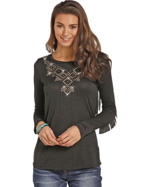 Rock & Roll Cowgirl Women's Long Sleeve Fringe Tee, Black, hi-res