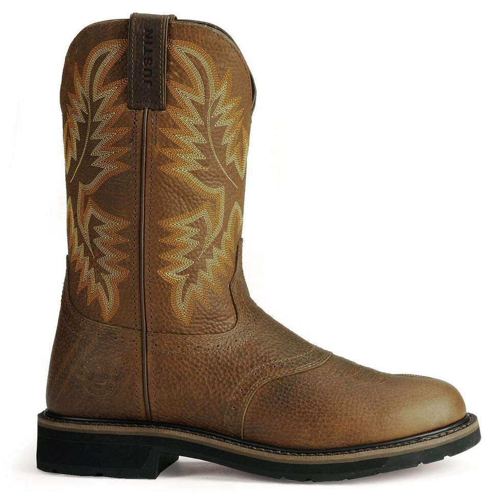 Justin Men's Stampede Superintendent Brown Work Boots - Soft Toe, Tan, hi-res