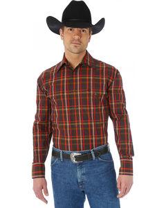 Wrangler George Strait Two Pocket Chestnut and Red Plaid Western Shirt, Chestnut, hi-res