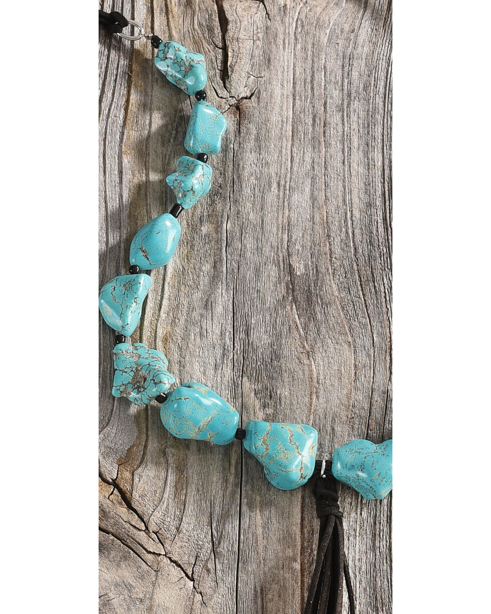 Shyanne Women's Chunky Turquoise Stone Cord Necklace, Turquoise, hi-res