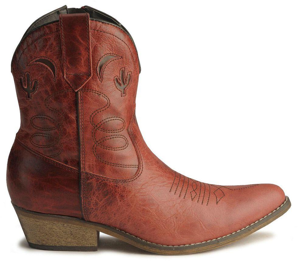 Dingo Moon & Cactus Zipper Boots - Medium Toe, Red, hi-res