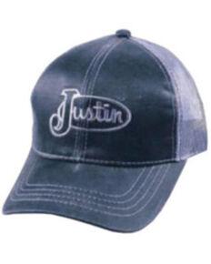 Justin Men's Black Logo Mesh-Back Ball Cap , Black, hi-res
