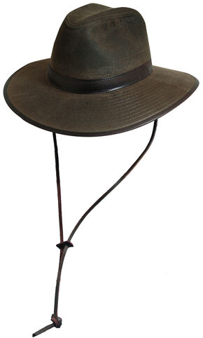 Scala Men's Olive Brown Oil Cloth with Leather Chin Cord Hat, Brown, hi-res