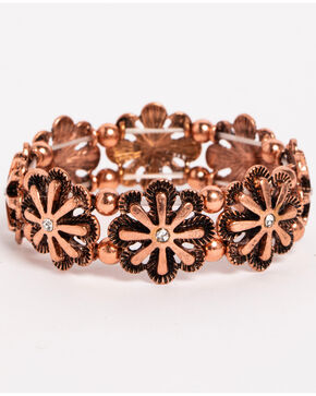 Shyanne Women's Texas Rose Flower Burst Stretch Bracelet, Rust Copper, hi-res