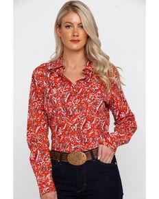 e4b3e1aa5b09f1 Rock & Roll Cowgirl Womens Floral Print Long Sleeve Western Shirt , Red, hi-