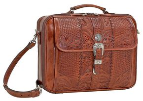 American West Leather Laptop Briefcase, Mocha, hi-res