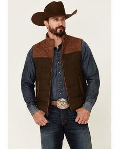 Scully Men's Vintage Brown Trimmed Leather Zip-Front Vest , Brown, hi-res