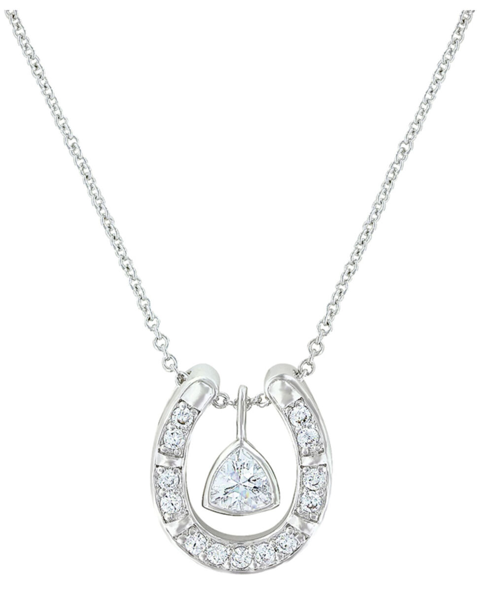 Montana Silversmiths Women's Treasured Trillion Sparkling Horseshoe Necklace , Silver, hi-res