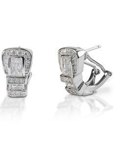 Kelly Herd Women's Clear Ranger Style Buckle Earrings , Silver, hi-res