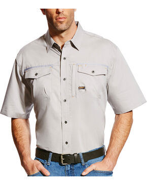 Ariat Men's Rebar Short Sleeve Work Shirt, Grey, hi-res