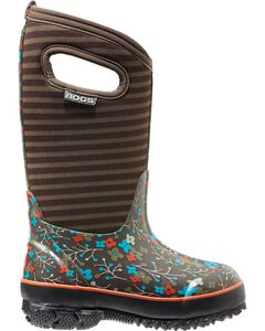 Bogs Kids' Classic High Brown Flower Stripe Waterproof Boots, Fuchsia, hi-res