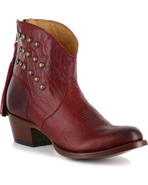 Shyanne Women's Dome Studded Bootie - Round Toe, Red, hi-res
