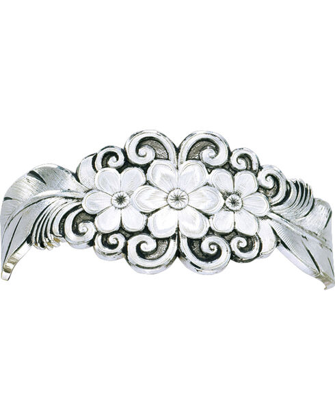 Montana Silversmiths Antiqued Silver Flower & Feather Spray Cuff Bracelet, Silver, hi-res