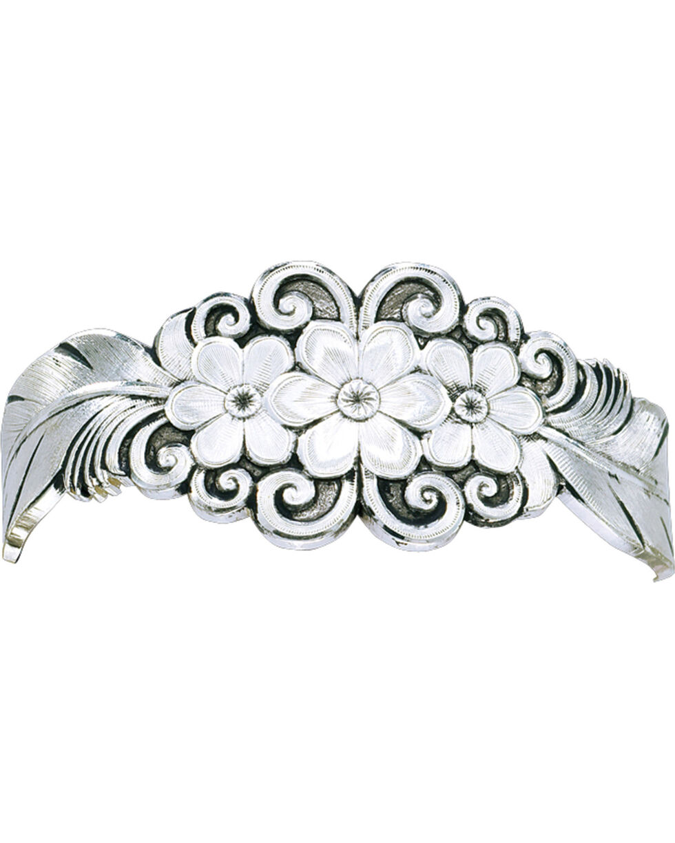 Montana Silversmiths Antiqued Silver Flower & Feather Spray Cuff Bracelet, Silver, hi-res