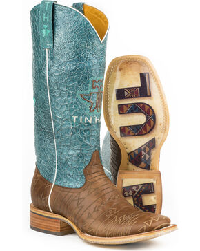 Tin Haul Women's Aztec Print Native Cowgirl Boots - Square Toe, Brown, hi-res