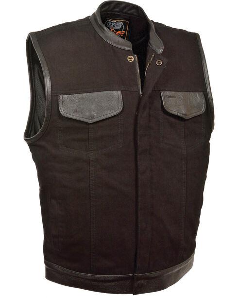 Milwaukee Leather Men's Black Denim Leather Trim Club Vest - Big 3X, Black, hi-res