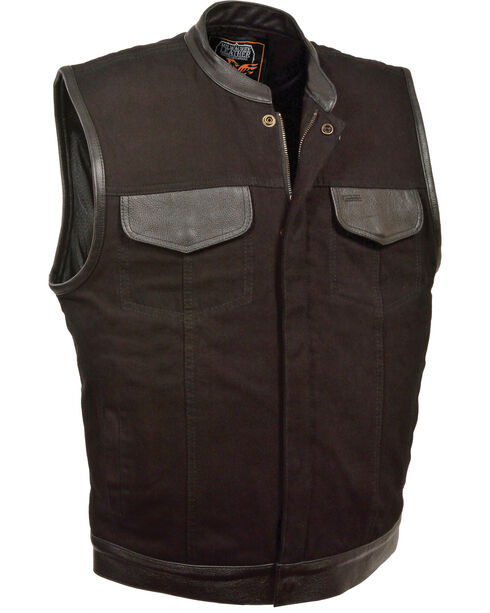 Milwaukee Leather Men's Black Denim Leather Trim Club Vest - Big 5X, Black, hi-res