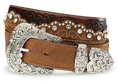 Tony Lama Kaitlyn Crystal Leather Western Belt, Brown, hi-res