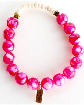 Everlasting Joy Jewelry Women's Flush Rose Coconut Bracelet , Bright Pink, hi-res