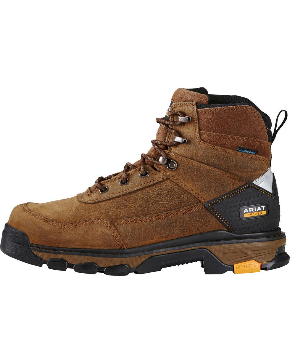 "Ariat Men's Intrepid 6"" Waterproof Work Boots - Soft Toe, Brown, hi-res"