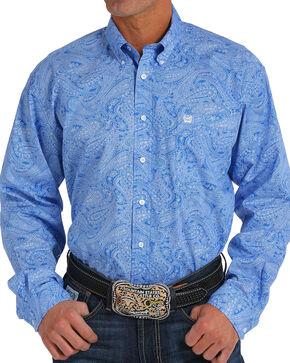 Cinch Men's Royal Blue Paisley Print Long Sleeve Button Down Shirt, Royal Blue, hi-res