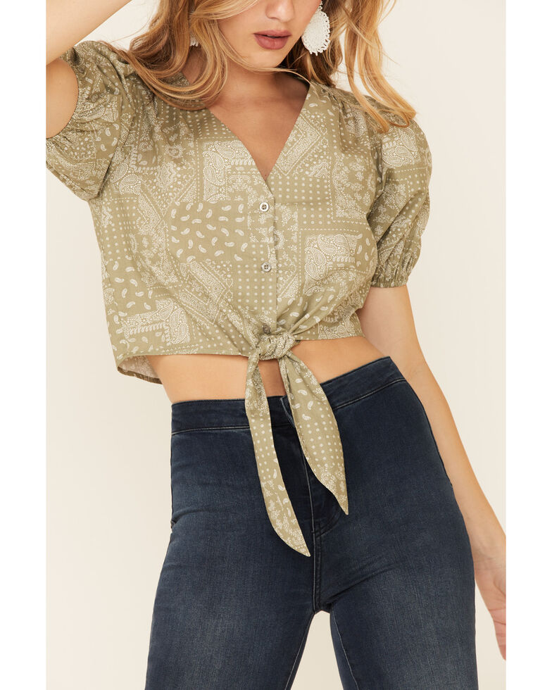 Very J Women's Sage Scarf Print Tie-Bottom Short Sleeve Crop Top, Sage, hi-res