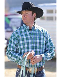 Cinch Men's Blue Green Plaid Contrast Western Shirt, White, hi-res