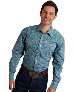 Roper Men's Amarillo Collection Green Paisley Snap Long Sleeve Shirt, Green, hi-res