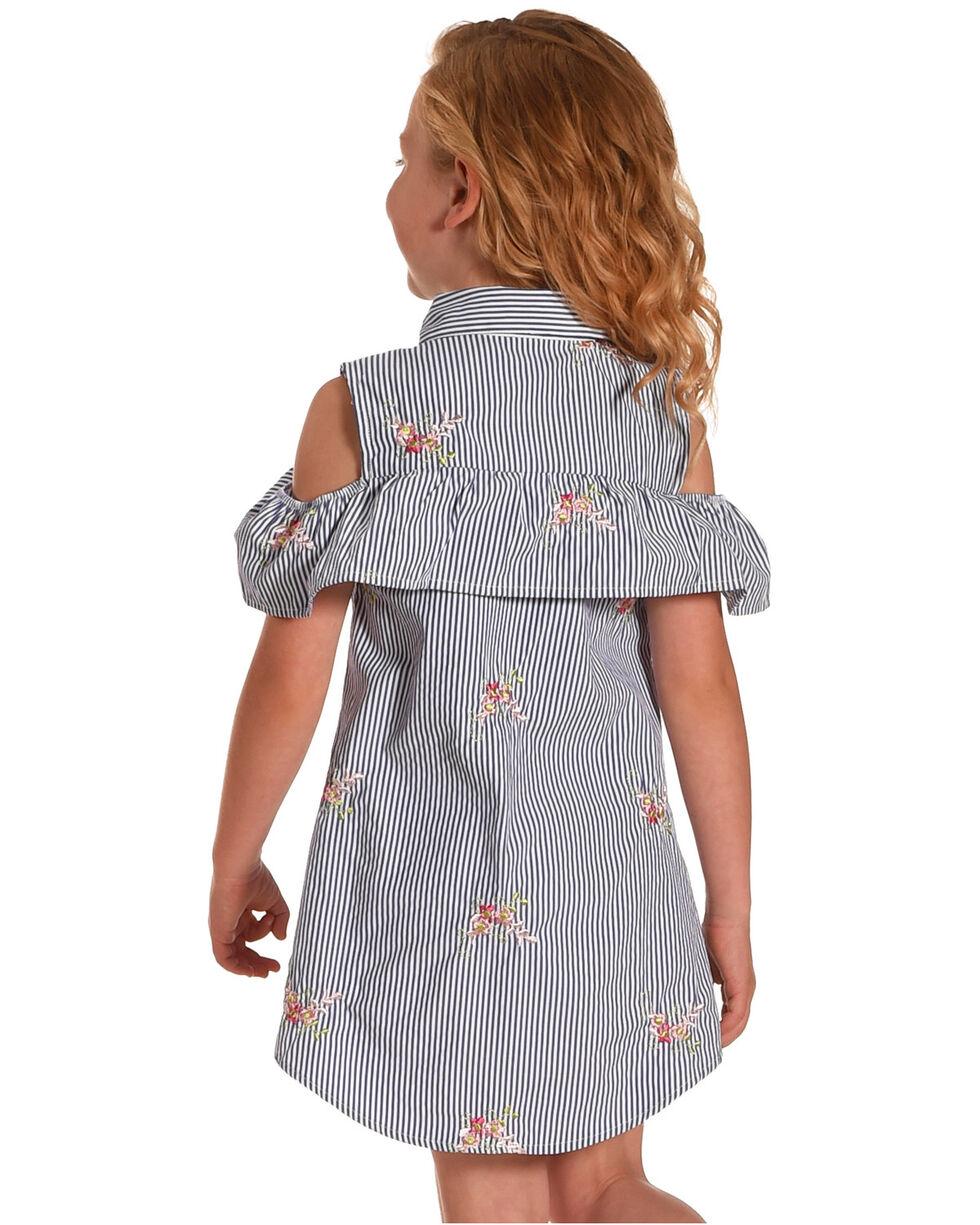 Idol Mind Girls' Striped Floral Embroidered Peek-A-Boo Dress, Blue, hi-res