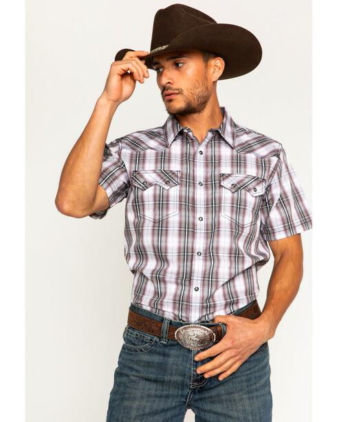 Cody James Men's Plaid Short Sleeve Snap Shirt, White, hi-res
