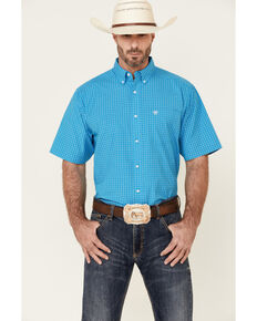 Ariat Men's Henrik Small Plaid Short Sleeve Button-Down Western Shirt , Blue, hi-res