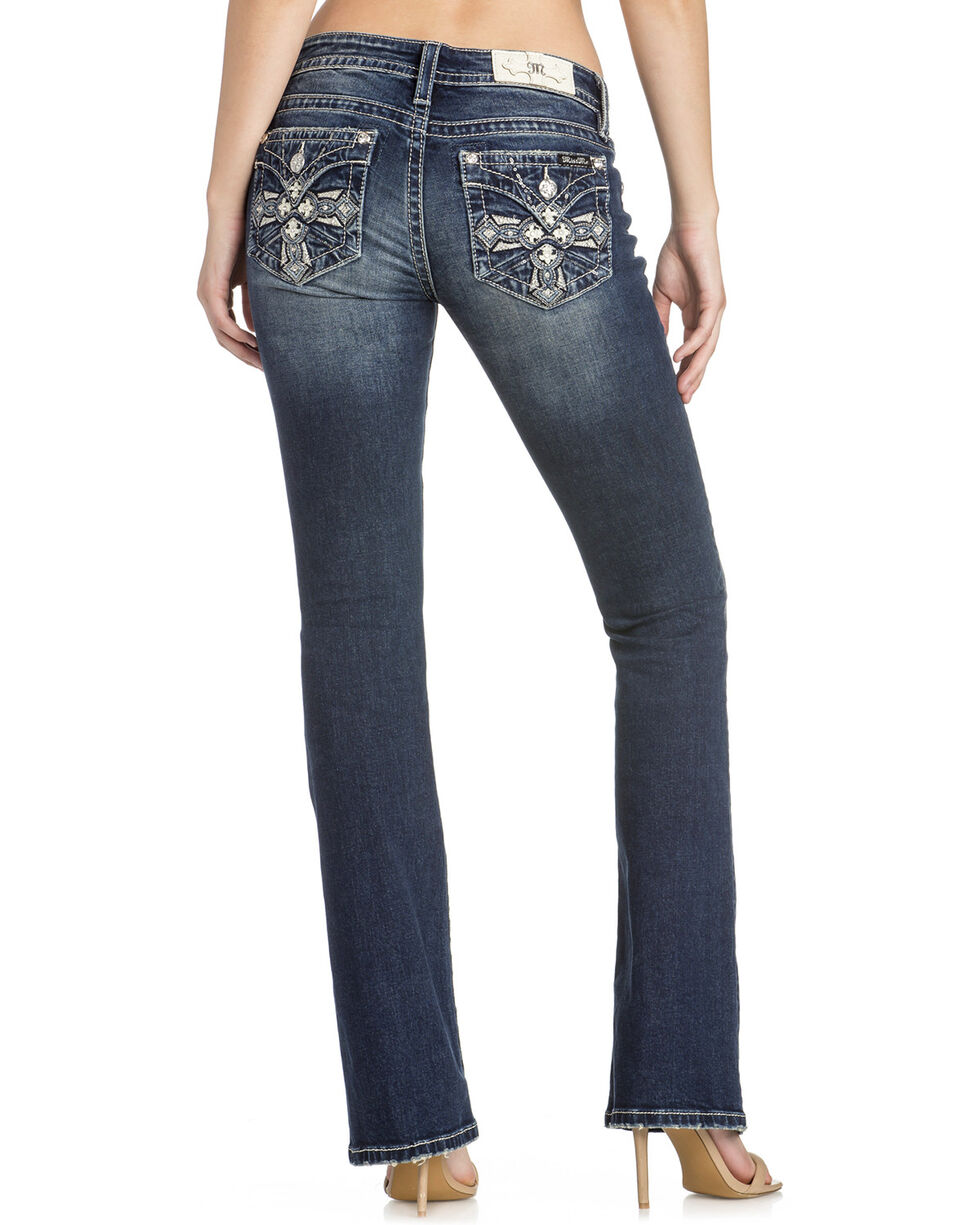 Miss Me Women's Distressed Pocket Boot Cut Jeans, Indigo, hi-res