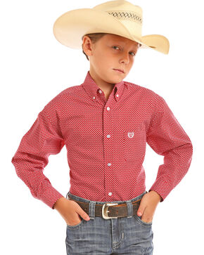 Panhandle Boys' Red Brushed Print Long Sleeve Shirt , Red, hi-res