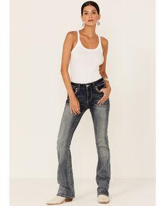 Grace in LA Women's Vintage Dark Wash Cowhide Embellished Bootcut Jeans, Blue, hi-res