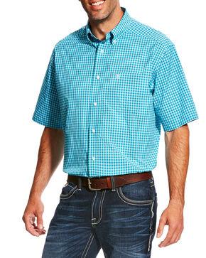 Ariat Men's Pro Series Negan Plaid Short Sleeve Button Down Shirt , Red, hi-res