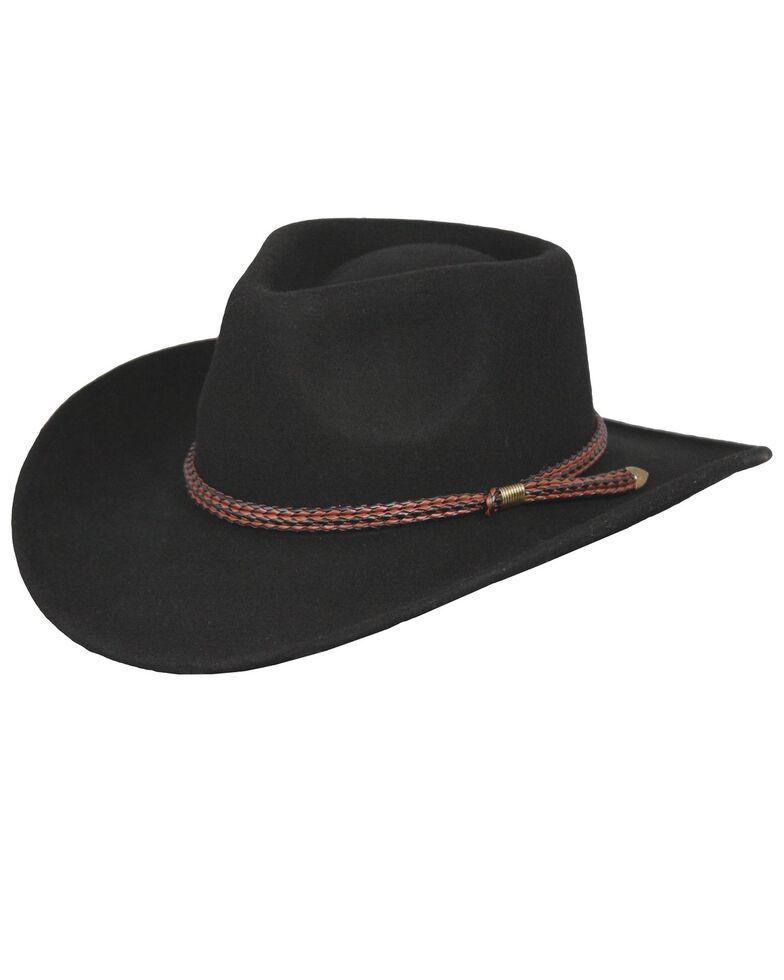 Outback Trading Co. Broken Hill Crushable Australian Wool Hat, Black, hi-res