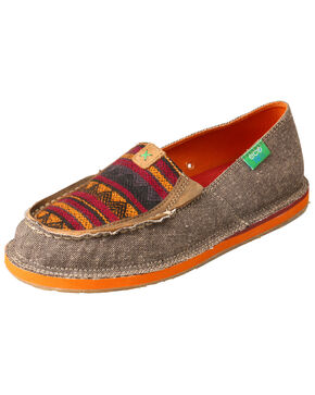 Twisted X Women's ECO TWX Serape Moccasin Loafers - Moc Toe, Grey, hi-res