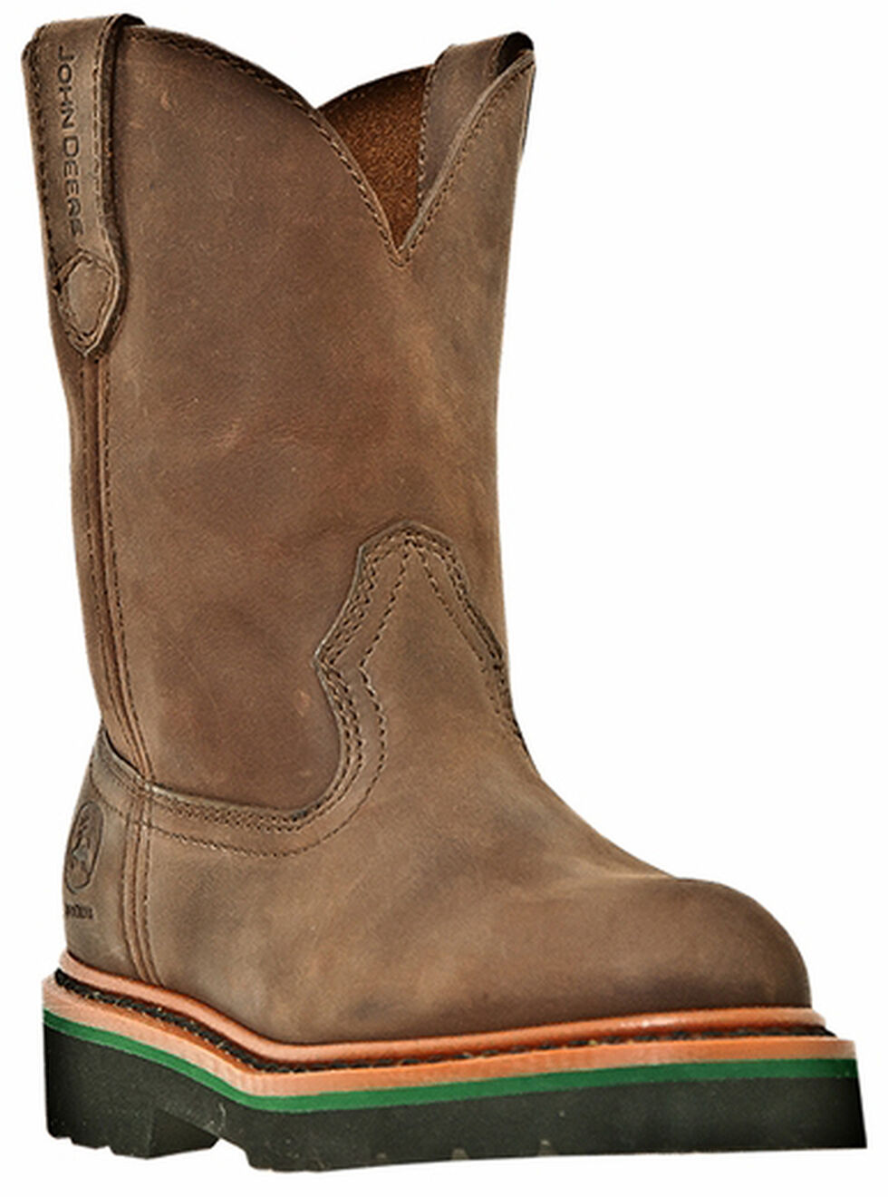 John Deere Boys' Johnny Popper Western Boots - Round Toe, Gaucho, hi-res