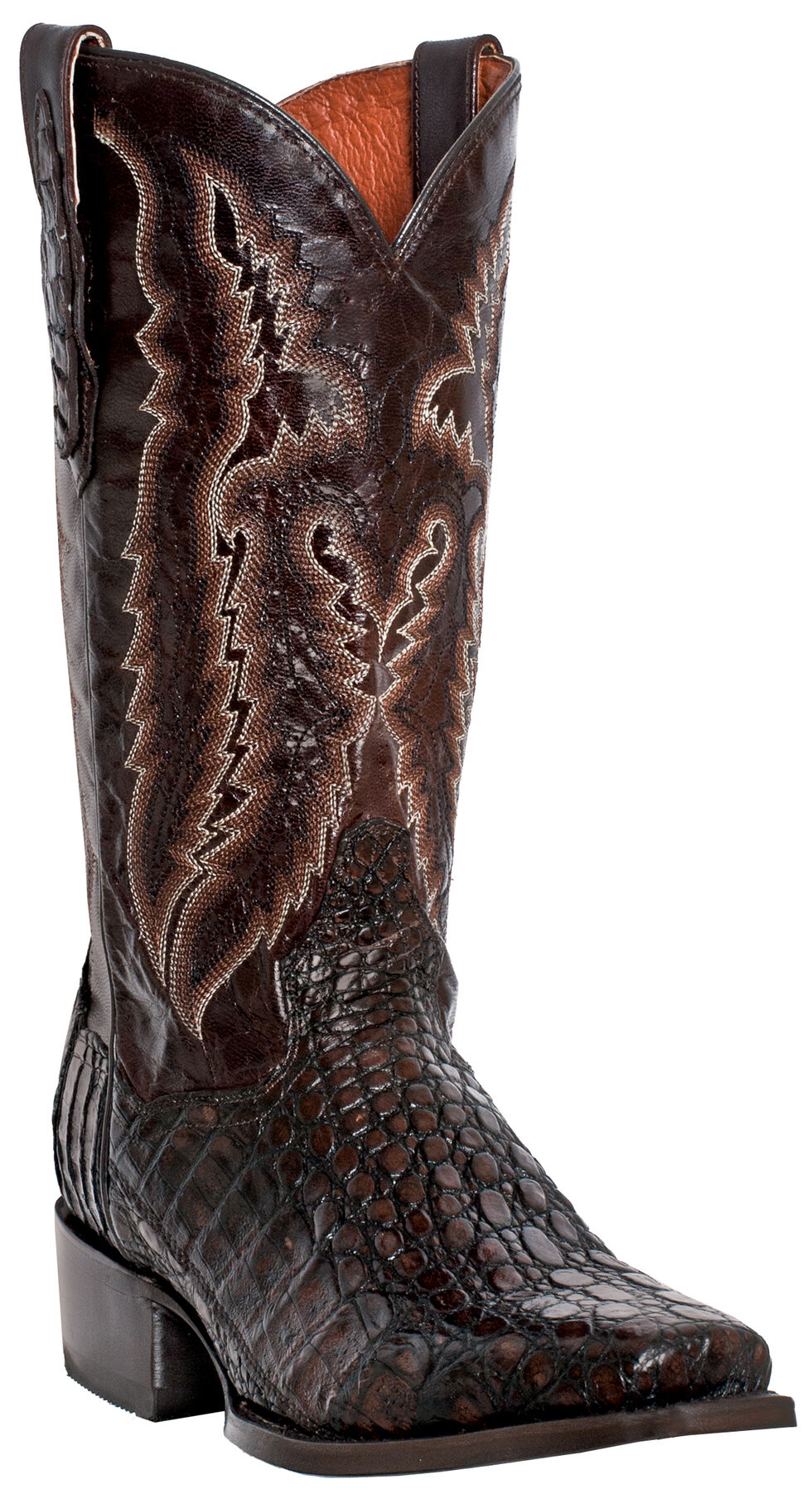 Dan Post Lagoon Caiman Cowboy Boots - Square Toe, Black, hi-res