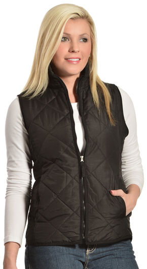 Jane Ashley Women's Diamond Quilted Vest, Black, hi-res