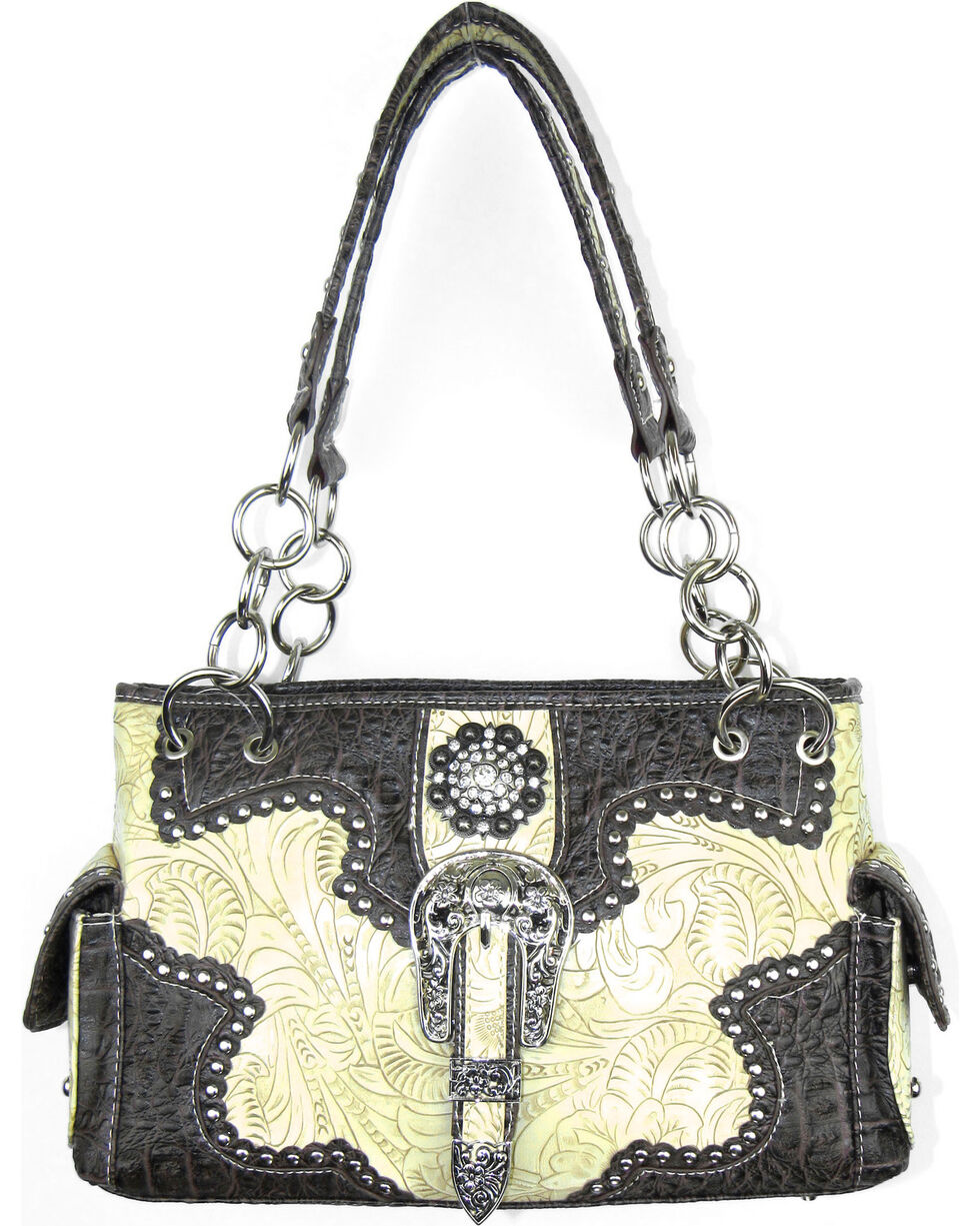 Savana Women's Ivory Concealed Carry with Tooled Design Handbag, Ivory, hi-res